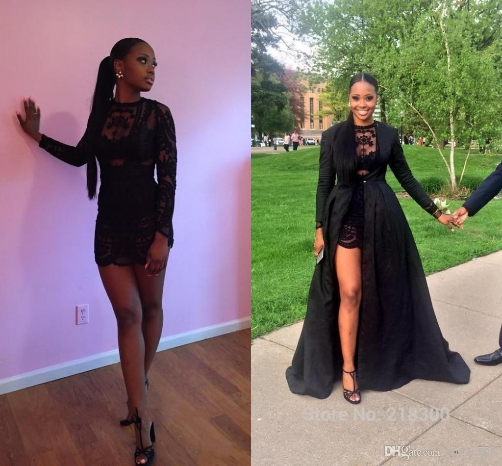 Hot Sales Short Prom Dresses Sexy See Through Black Lace Long Sleeve Detachable Coat Floor Length Mini Party Evening Pageant Dresses BO861