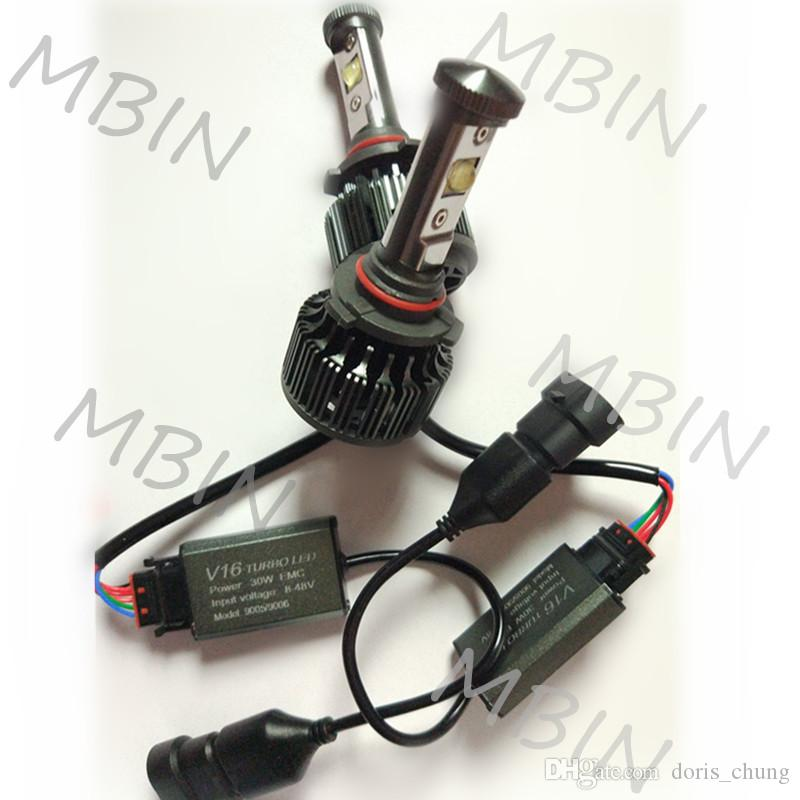 V16 turbo CREE LED Kit for refit auto parts 30w 3600lm 12V-24V 9005 HB3 H10 DRL waterproof high power bulbs with fan
