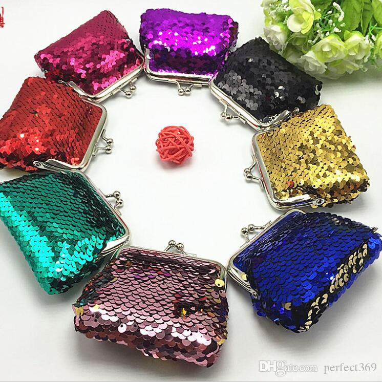 New Sequin Mermaid Hasp Coin Purse Mermaid Glitter Handbag Evening Wallet Women's Pouch Chirstmas Gifts free shipping