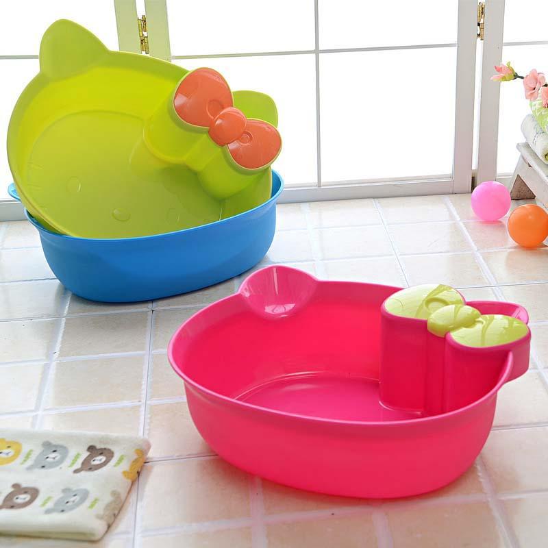 2017 Creative Cat Home Fashion Shatterproof Baby Washbasin Foot Bathtub Cartoon Basin Washtub Plastic Pots