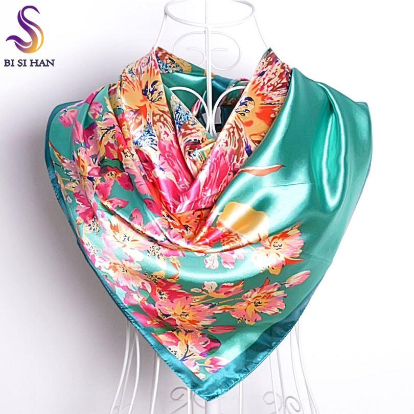 Mesdames Vert Foulard En Soie Imprimé 2016 Nouveau Design Élégant Femmes Accessoires Lumineux Satin Soyeux Grand Foulards Carrés Wraps 90 * 90 cm