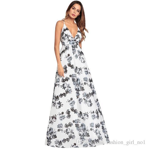 2018 New Women's Cross Strap Bohemian Deep V long skirt Printed Long Dress Backless Sexy Dress