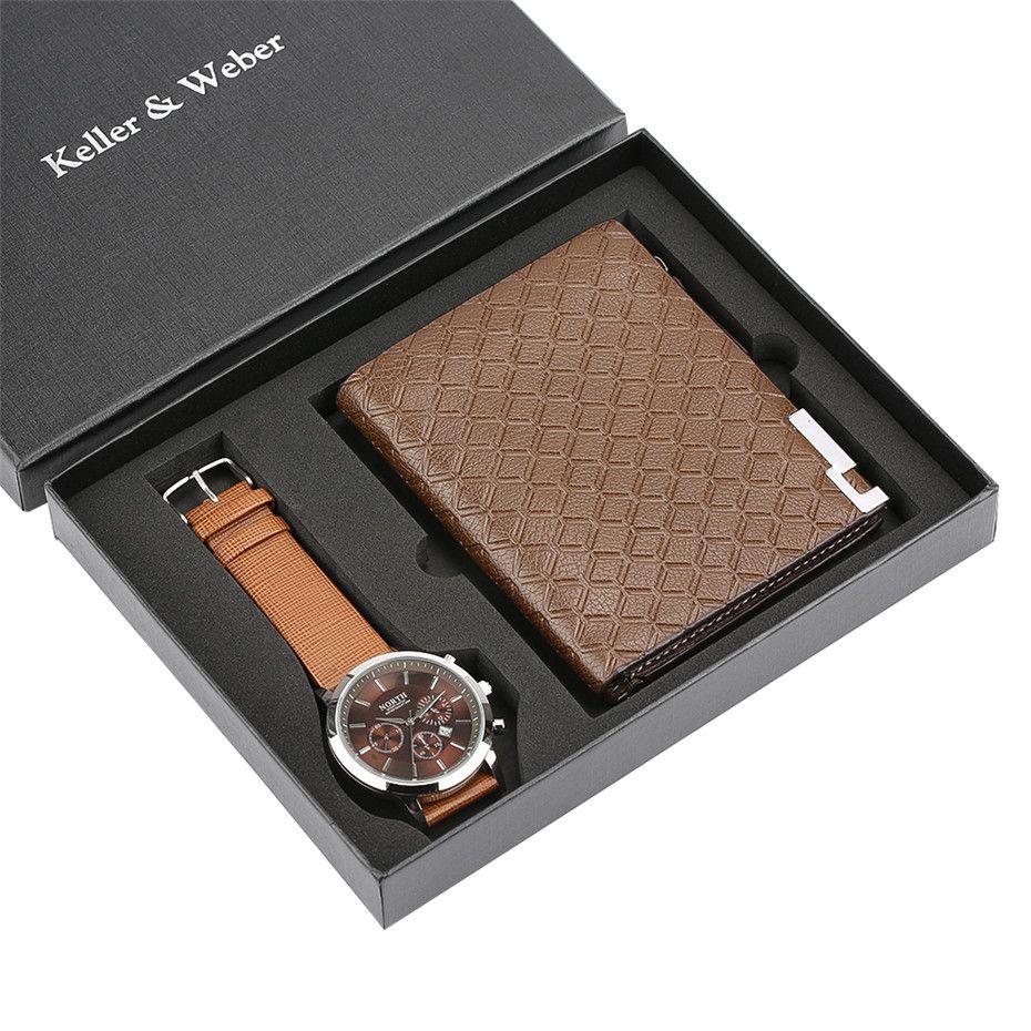 + Cuero padre regalos raya hombres relojes regalos hombres bolsa bolsa carteras conjunto de moda hombre reloj reloj cronógrafo para reloj masculino DQFFP