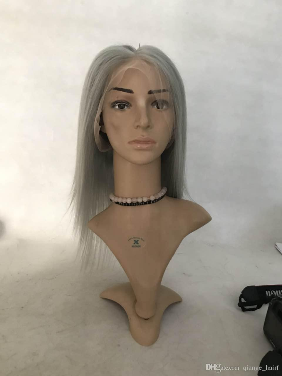 Lace Front Human Hair Wigs gray Color Brazilian Lace Wigs With Full End Remy Short Bob Wigs Bleached Knots