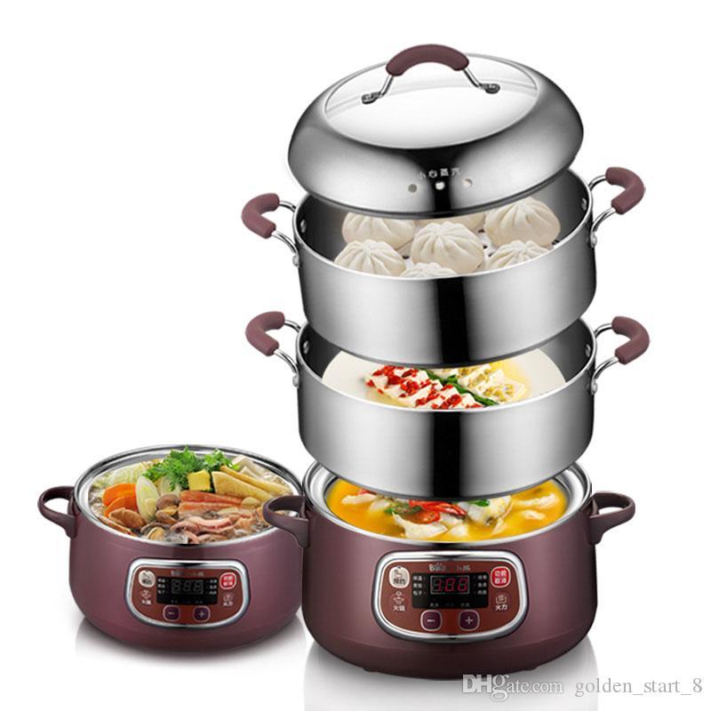 Nouveau cuiseur vapeur électrique à 2 couches anti-sécher multifonctionnel en acier inoxydable