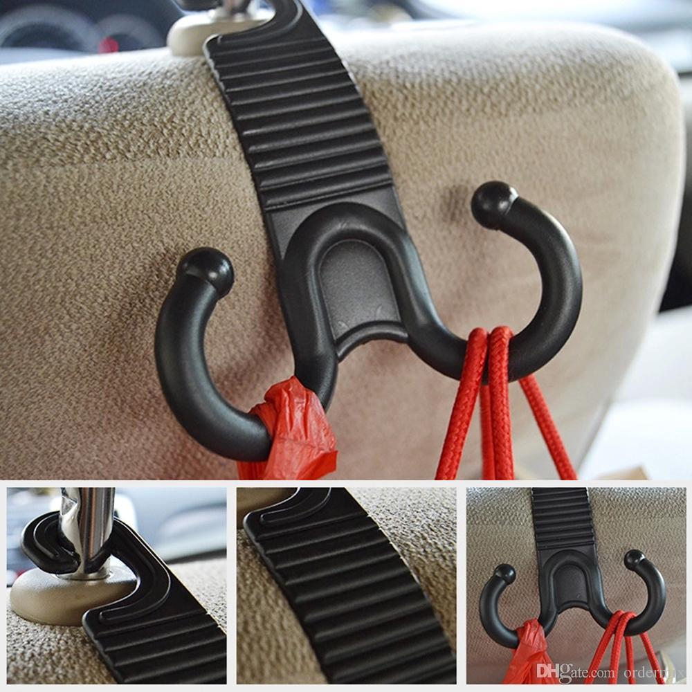 1 par Car Seat Voltar gancho garra Forma Durable Titular Trunk Bag Cabide Auto Encostos Bagagem gancho Car Organizer Acessórios