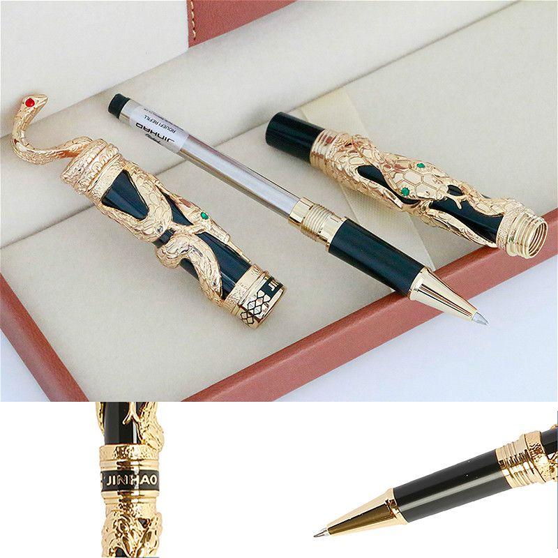 جودة عالية جينهاو الأفعى المعدنية حبر جاف القلم 0.5 ملليمتر المنقار رولربال القلم الذهب الأعمال مكتب اللوازم القرطاسية