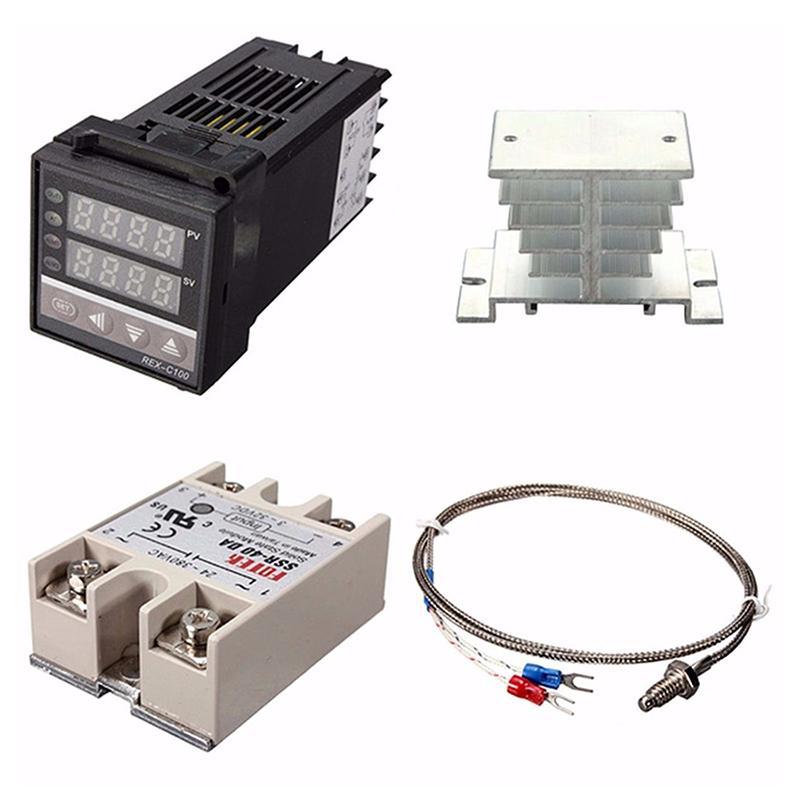 Digital 220 V PID REX-C100 Controlador de Temperatura + max.40A SSR + K Termopar, Controlador PID Set Dissipador De Calor