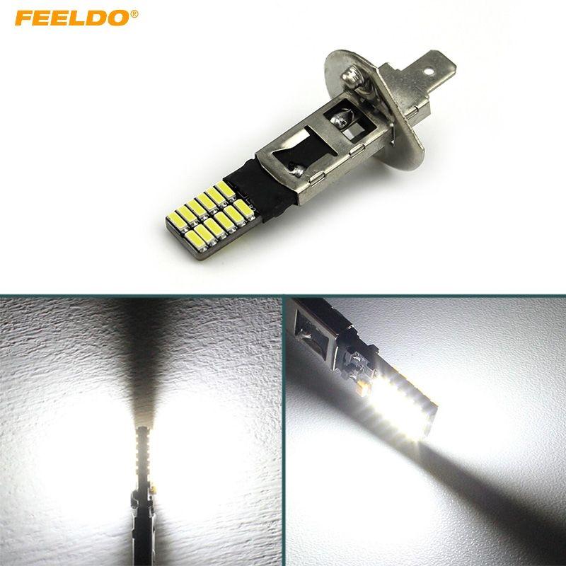 FEELDO 2PCS Blanco H1 24SMD 4014 Chip 24LED Libre de errores Canbus Coche Frontal LED Luz antiniebla LED Faro # 5319
