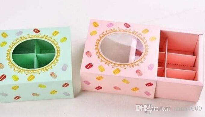 Scatola di carta per torta Macaron con scatola di imballaggio per biscotti Window 3 colori