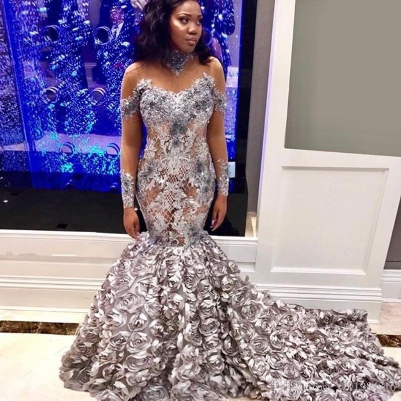 Silver See Through Prom Dresses High Neck Beads Lace Applique Long Sleeve Celebrity Party Dress Sexy 3D Rose Long Mermaid Prom Dresses