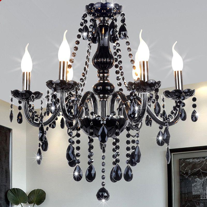 Lámparas de araña de cristal negro moderno para sala de estar Iluminación interior Dormitorio K9 lustres de teto de cristal accesorios de lámpara colgante de techo