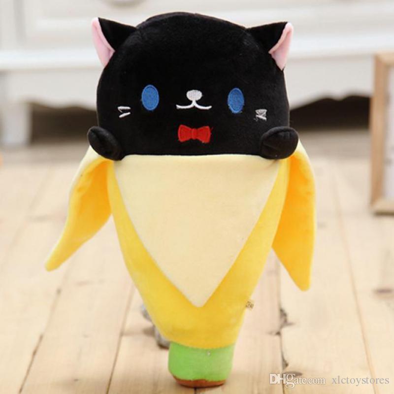 الجملة-اليابان استرضاء الطفل المخفية القط الموز 30-50 سنتيمتر 4 اللون القطيفة الناعمة الإبداعية دمية محشوة لعبة للطفل أطفال هدايا عيد
