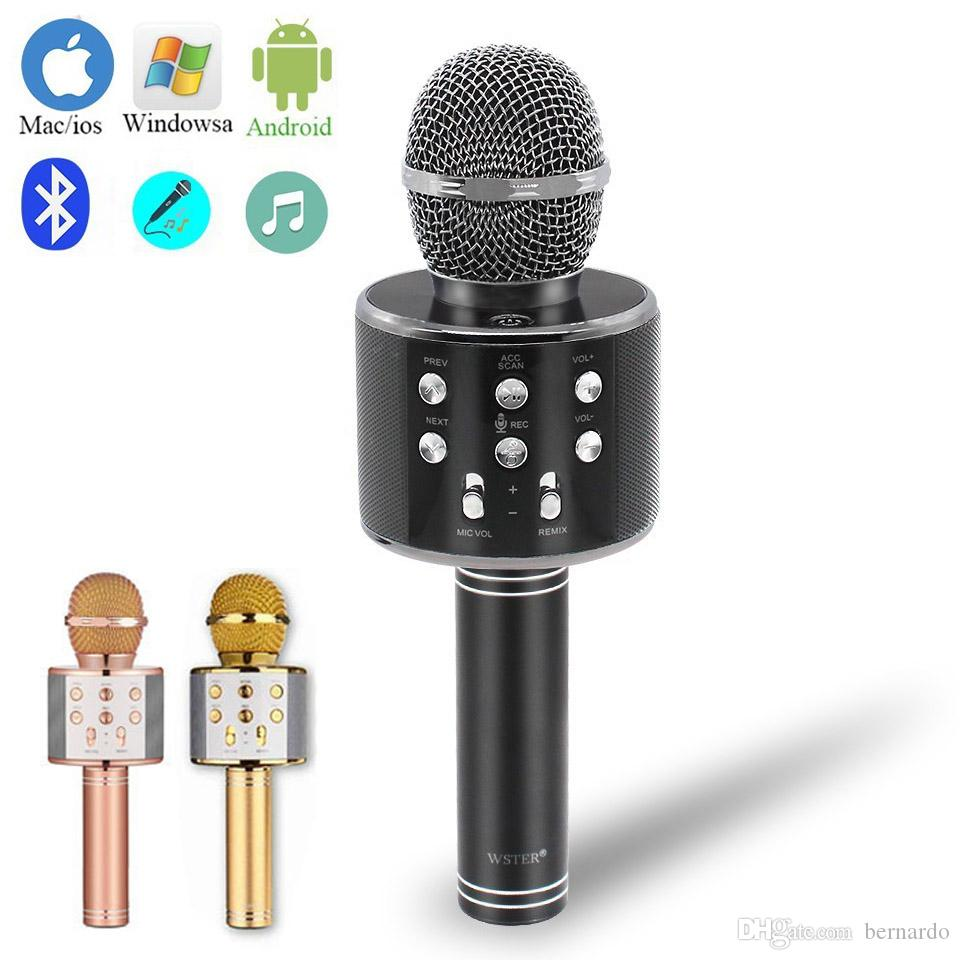 Blue Mini Singing Karaoke Home KTV Microphone Mic for IOS Android Cell Phone
