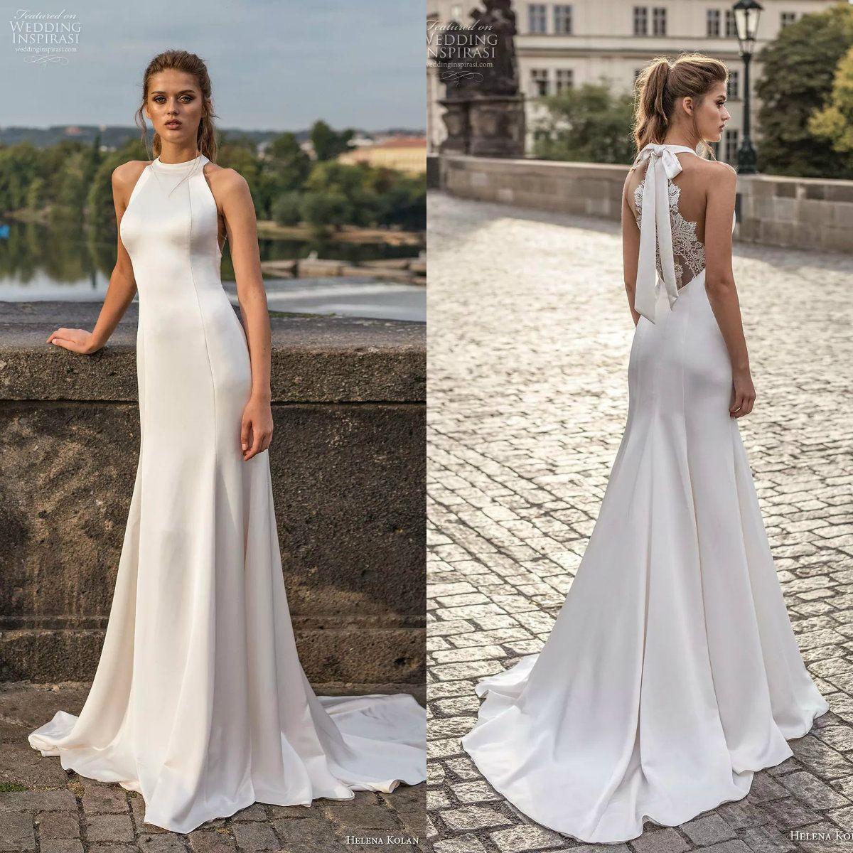 elegant halter neck wedding dresses mermaid satin lace back sweep train  bridal gowns wedding dress custom made princess wedding dress silver  wedding