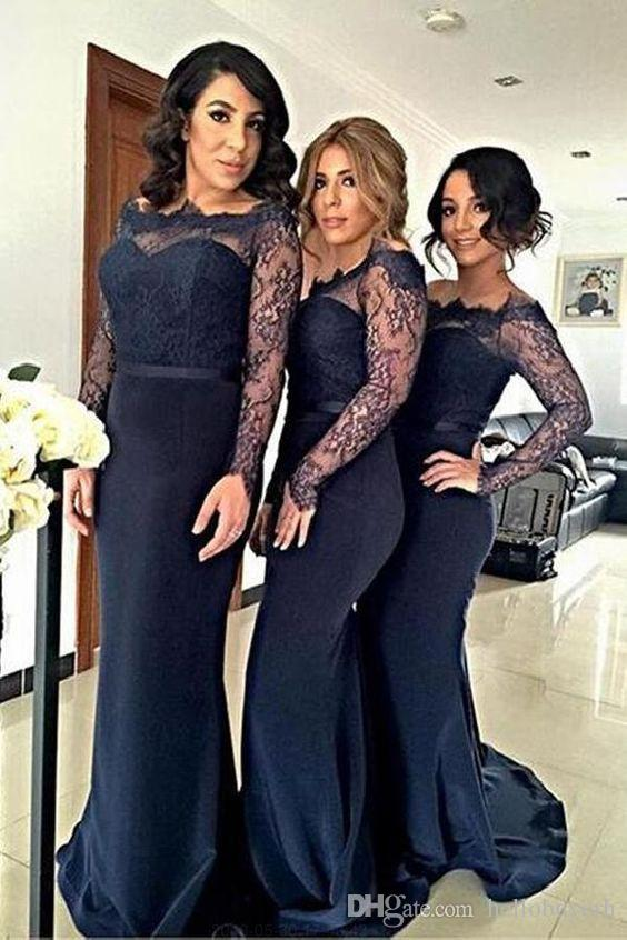 Navy Blue Mermaid Long Sleeves Bridesmaid Dresses Lace Top Sexy Maid Of Honor Dresses