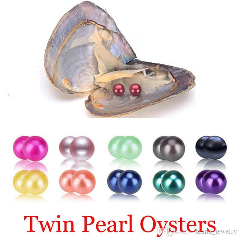 Venta al por mayor 2018 nueva DIY agua dulce gemelos de perlas en las ostras 27 colores Perlas Perlas Oyster Con regalo de la joyería de lujo envasado al vacío para las mujeres