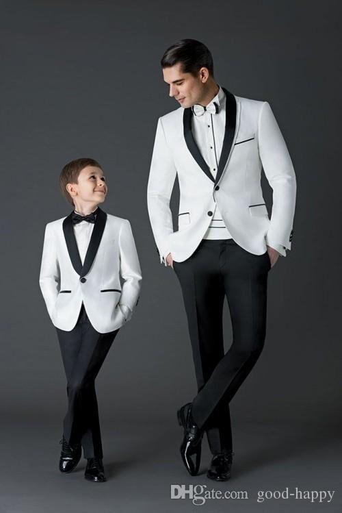 Brand New White Men Wedding Tuxedos High Quality Groom Tuxedos Black Shawl Lapel One Button Men Blazer 2 Piece Suit(Jacket+Pants+Tie+Girdle)