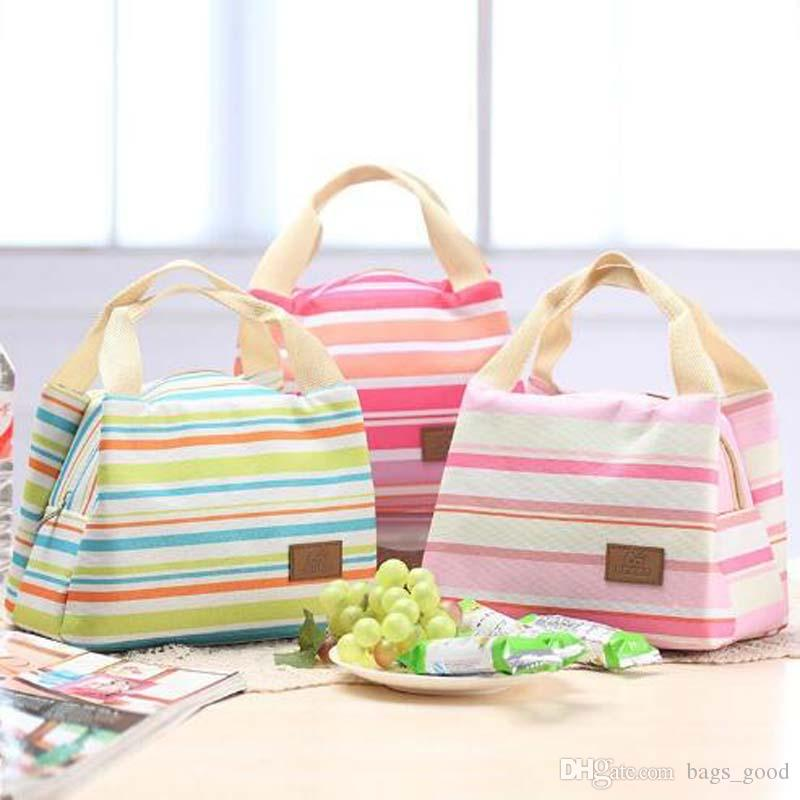 Classic Portable Travel Picnic Stripe Lunch Bag Thermal Insulation Bag For Kids