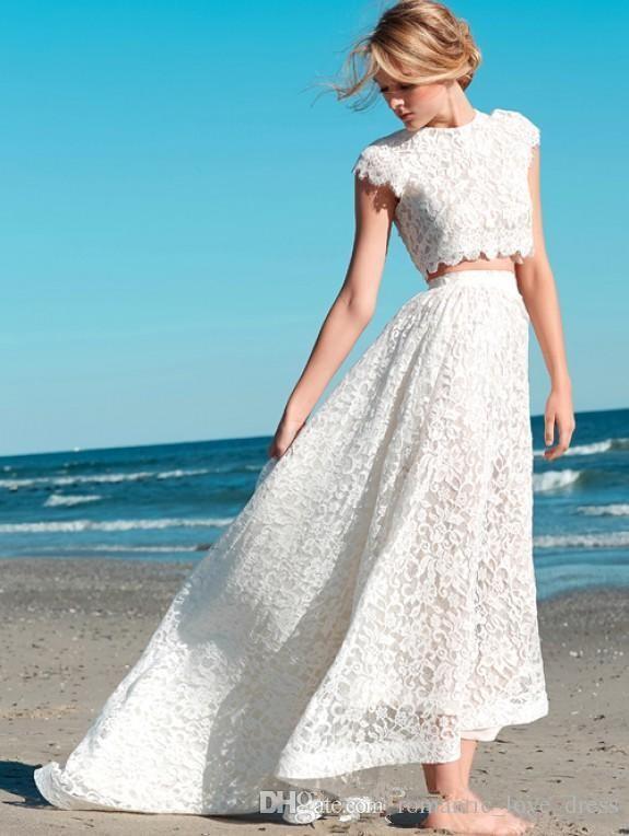Duas Peças Vestidos de Casamento Praia Estilo Boho Vestido De Novia Jewel Decote A-Line Cap Manga Alta Baixa Lace Vestidos de Noiva 2019 Personalizado W222