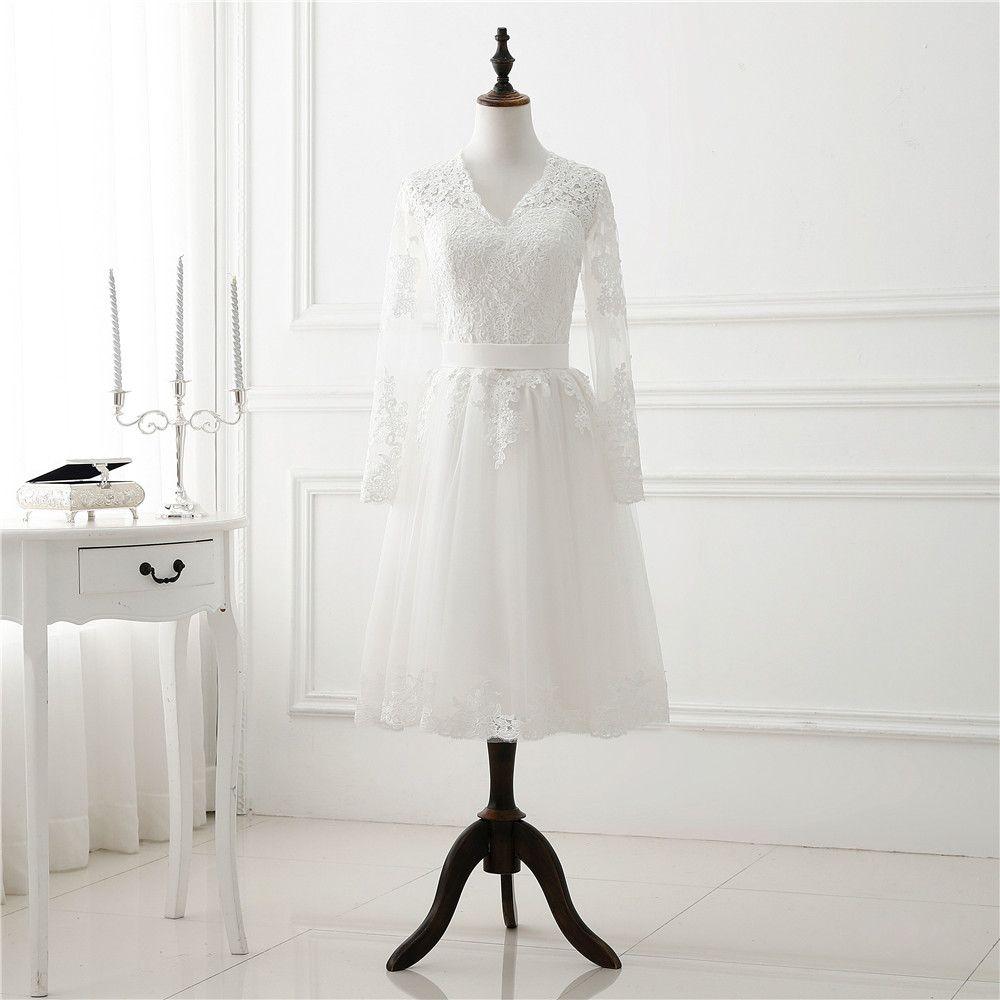 1950-х годов старинные короткие свадебные платья с длинным рукавом кружева тюль женщин свадебные платья чайная длина свадебное платье новое поступление