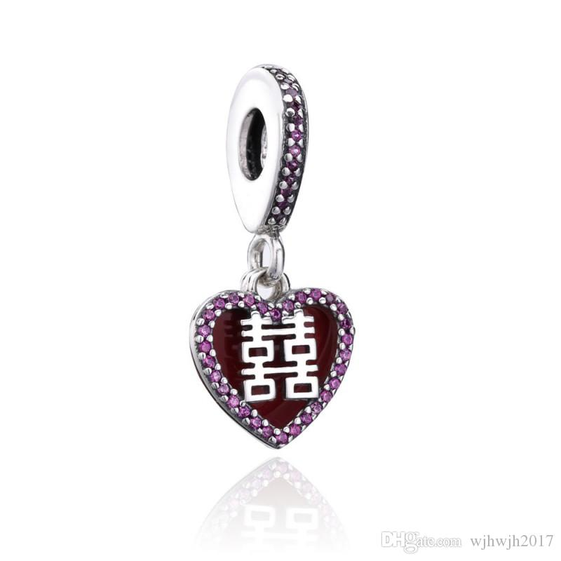 New Authentic 925 Sterling Silver Charm Red Enamel Double Happiness Heart Crystal Pendant Bead Fits European Bracelet DIY Jewelry Making