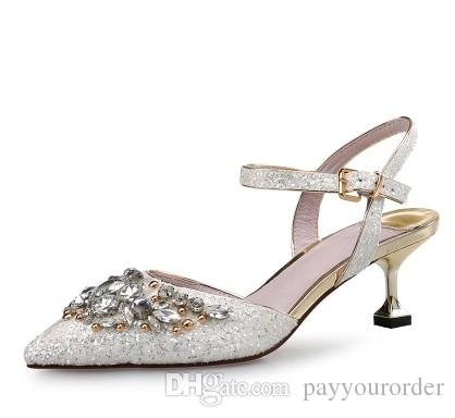 sliver Sequinned sandals for the women the new one-word button with a pointy-headed water-drill head silver stilettos diamond large size 489
