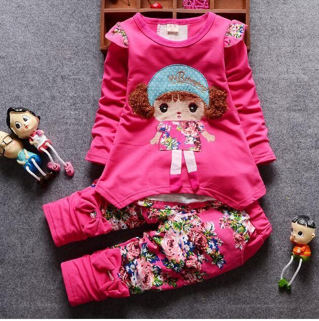 La ragazza adatta la primavera 2018 nuovi vestiti dei bambini vestiti svegli della stampa del fumetto dei vestiti casuali degli sport svegli