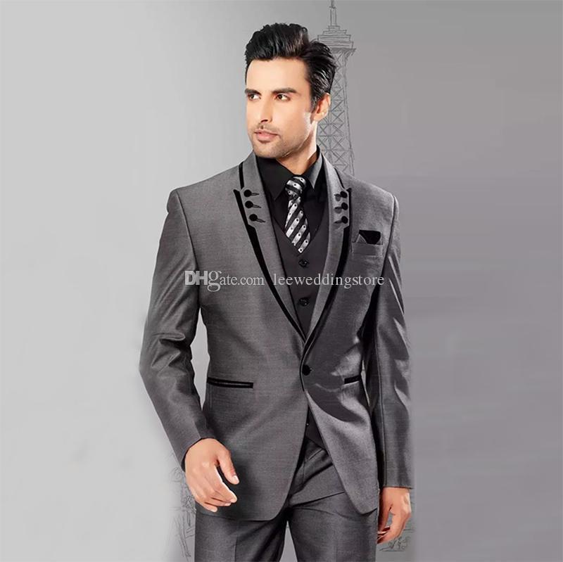 Mens Suits Grey Blazer Business Peaked Lapel Formal Slim Fit Wedding Suits Groom Wear Custom Made Tuxedos Best Man Prom Jacket+Pants+Vest