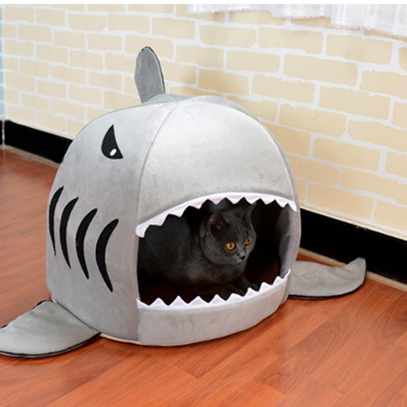 Dog Cat Bed Forma mouse lavabile Shark Casa di cane dell'animale domestico della base di sonno Canile nido dell'animale domestico ammortizzatore smontabile blu grigio rosa colora il nuovo