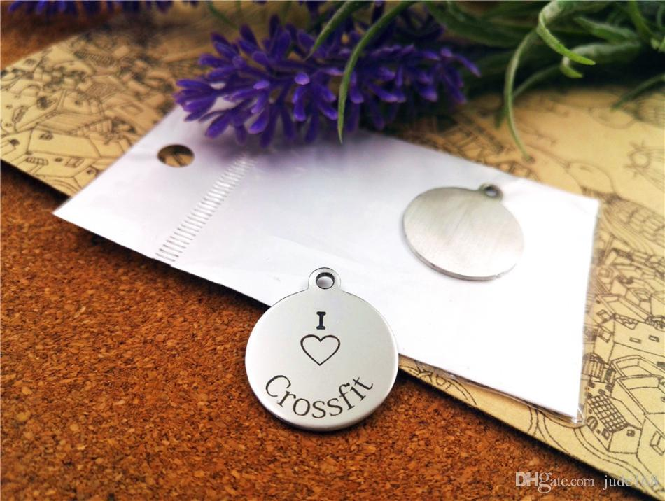 """40pcs--""""I love crossfit""""stainless steel charms more style for choosing DIY Charms pendants for necklace"""