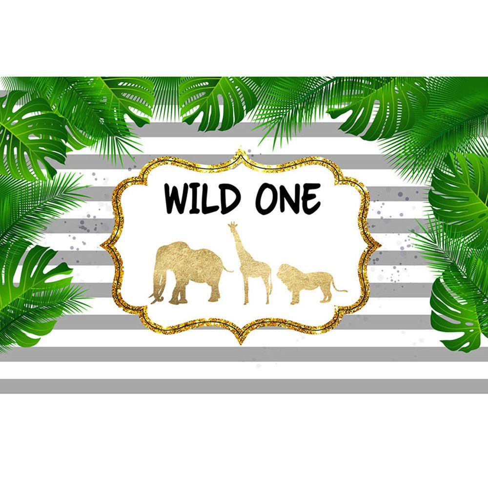 Vahşi Bir Doğum Günü Partisi Zemin Baskılı Stripes Yeşil Yapraklar Fil Zürafa Yenidoğan Bebek Duş Sahne Çocuklar Fotoğraf Arka