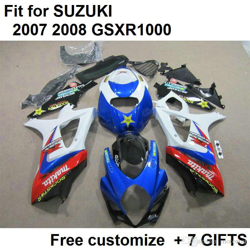 Gorąca sprzedaż Zestaw targowy dla SUZUKI GSXR1000 07 08 Białe Blue Fairings Set GSXR1000 2007 2008 FF56