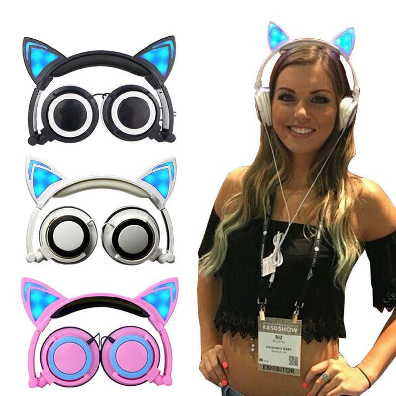 Косплей кошка ухо складной мигающий светящиеся детские гарнитуры игровые наушники LED свет на ухо наушники для ПК портативный компьютер P