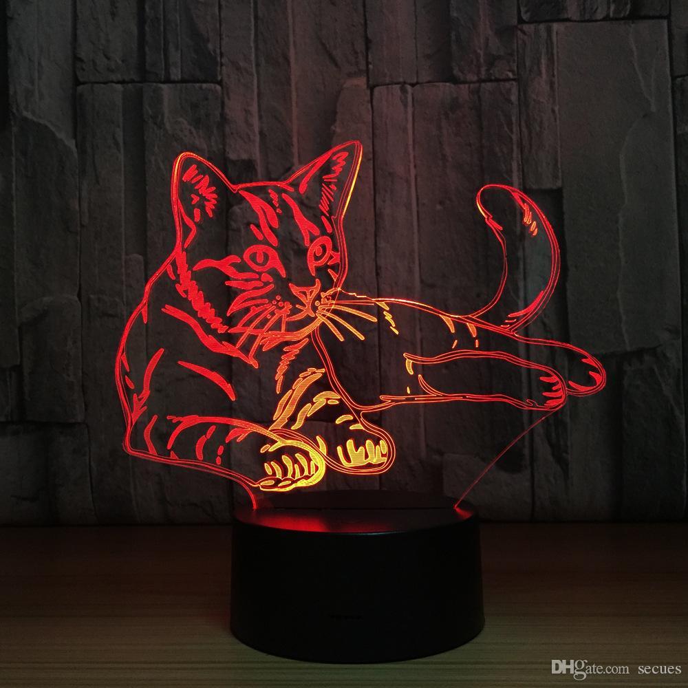 Lying Cat 3D Optical Illusion Lamp Night Light DC 5V USB Charging 5th Battery Wholesale Dropshipping Free Shipping