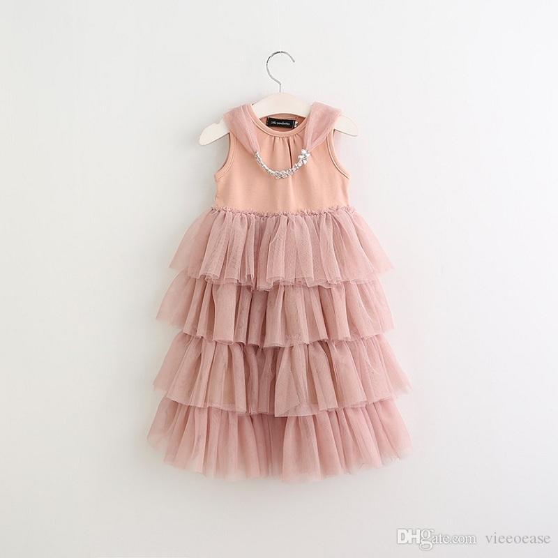Vieeoease Girls Dress Kids Clothing 2020 Summer Fashion Sleeveless Lace Tutu Princess Party Dress KU-107