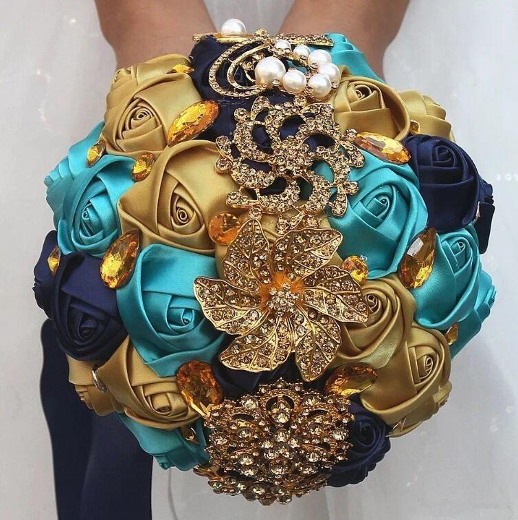 Gelinin Muhteşem düğün gelin buketleri fildişi altın parlak çiçekler Yapay Gelin Buketi yeni kristal ışıltı buket