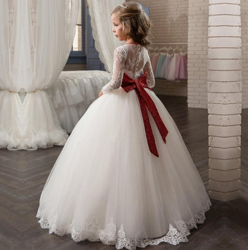 Pageant Kids Gown Long Sleeve Red Sequin Sash Lace Flower Girl Dresses For Wedding Girl's Floor Length Child Party Birthday Dress 17flgB433