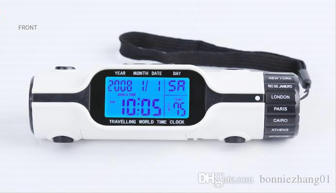 50pcs Traveling World Time Collection Digital LCD Backlight Alarm Clock With LED Torch Flashlight Thermometer Calendar Multi-function