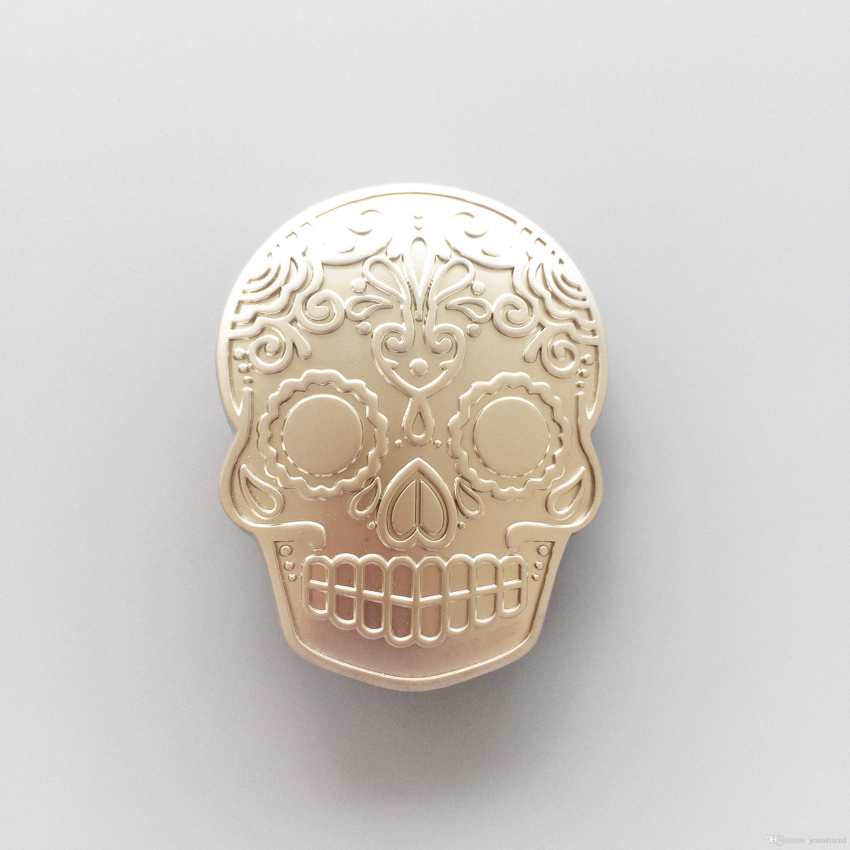 New Original Matter Silver Plated Tattoo Skull Belt Buckle Gurtelschnalle Boucle de ceinture BUCKLE-SK027AS