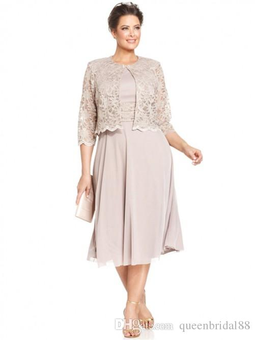 Modest two pieces mother of the bride dresses with 3/4 long sleeves lace jacket party gowns tea length chiffon wedding guest dress
