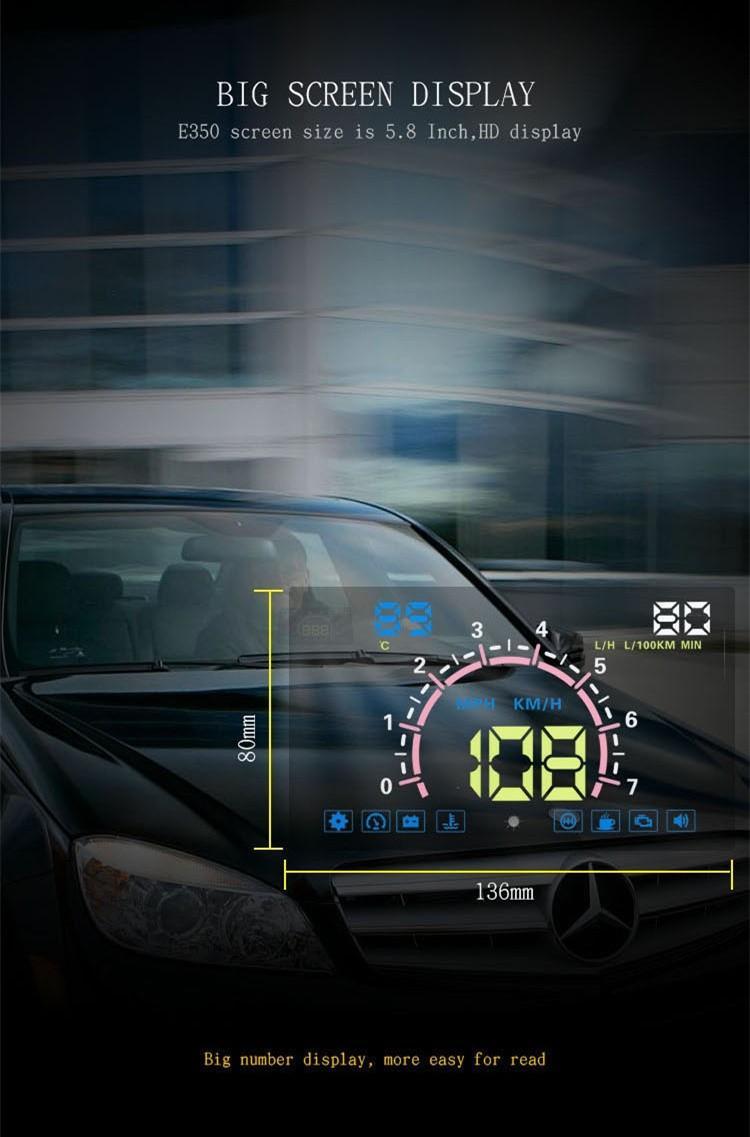 """차량 범용 5.8 """"OBD2 헤드 업 디스플레이 다기능 자동차 대시 디지털 HUD 연비 회전 속도 전압 물 온도 알람"""