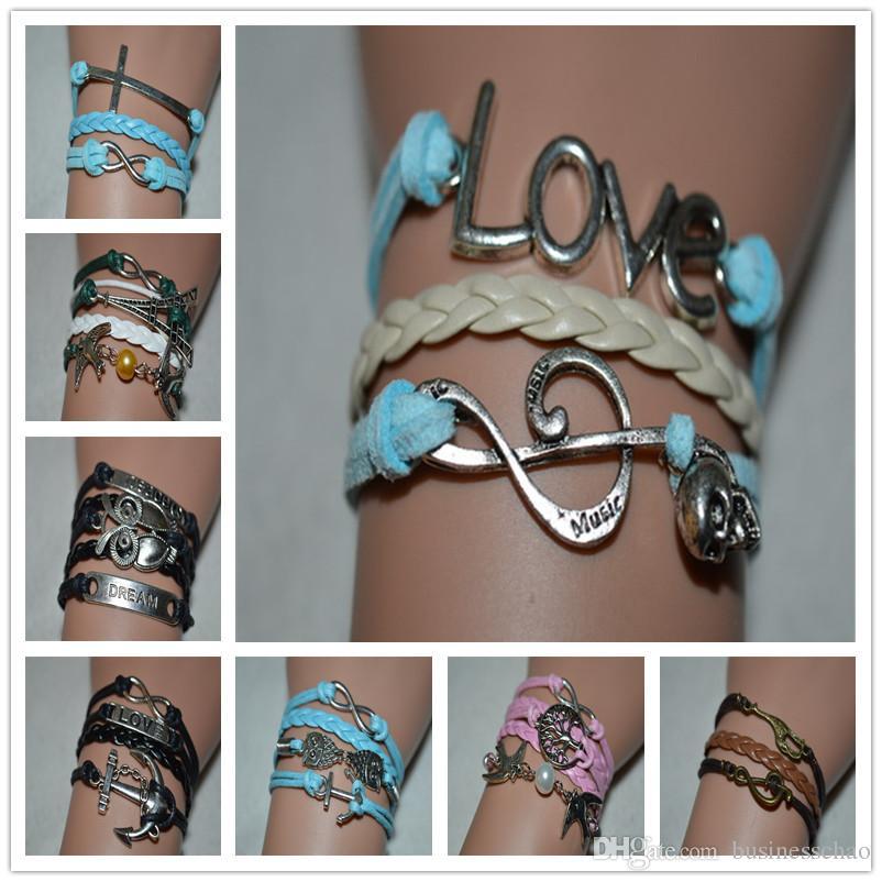 Новые Мужчины Женщины любят музыку череп мечта мода кожаный браслет Шарм браслеты ручной веревки ювелирные изделия аксессуары браслет брелок браслеты