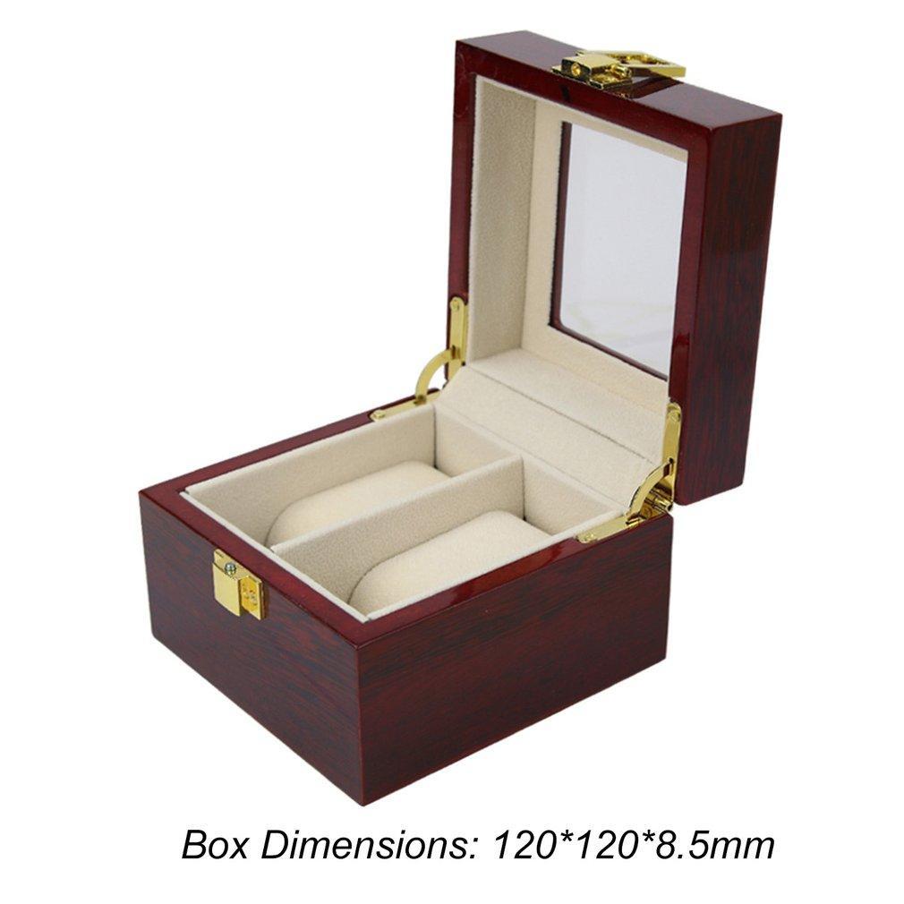 2/10 Grades Cor Vermelha Caixa De Relógio De Madeira Caixa de Exibição de Jóias Organizador Caso de Exibição de Relógios Caja Reloj
