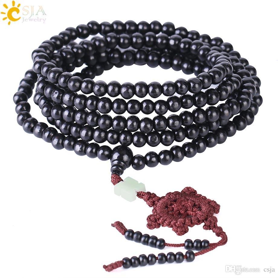 CSJA Fashion Mala Bracelets Natural 6mm Wood Beads Buddha Bracelet Men Women Long Bangle Religion Gift Wholesale Chinese Knot Jewelry S070