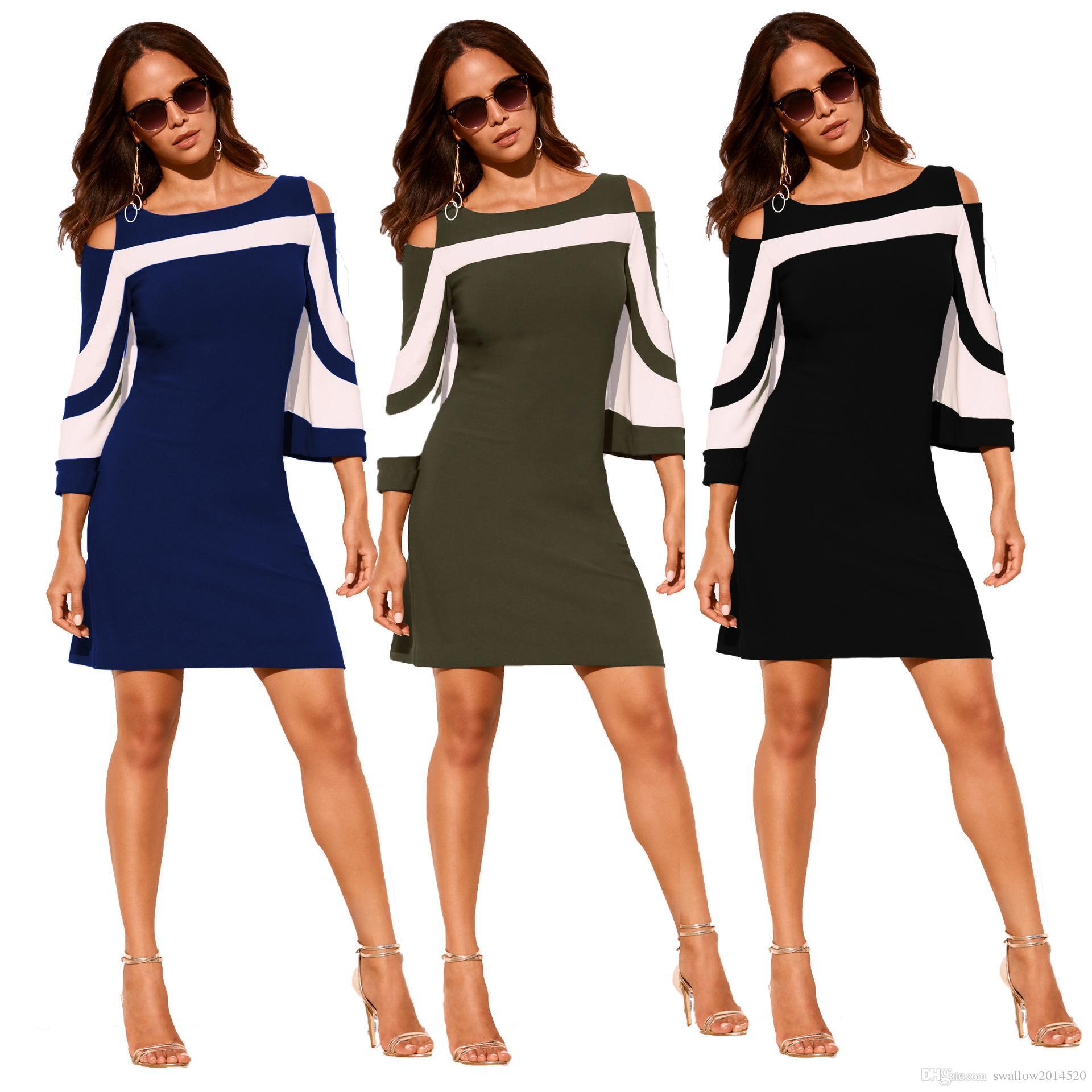 großhandel büro damen arbeitskleidung kleider elegant schwarz weiß  colorblock 3/4 Ärmel kleid casual 2018 frühling vestidos von  swallow2014520, 11,88