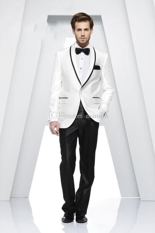 Сшитое на заказ жениха шаль нагрудные смокинги белые смо