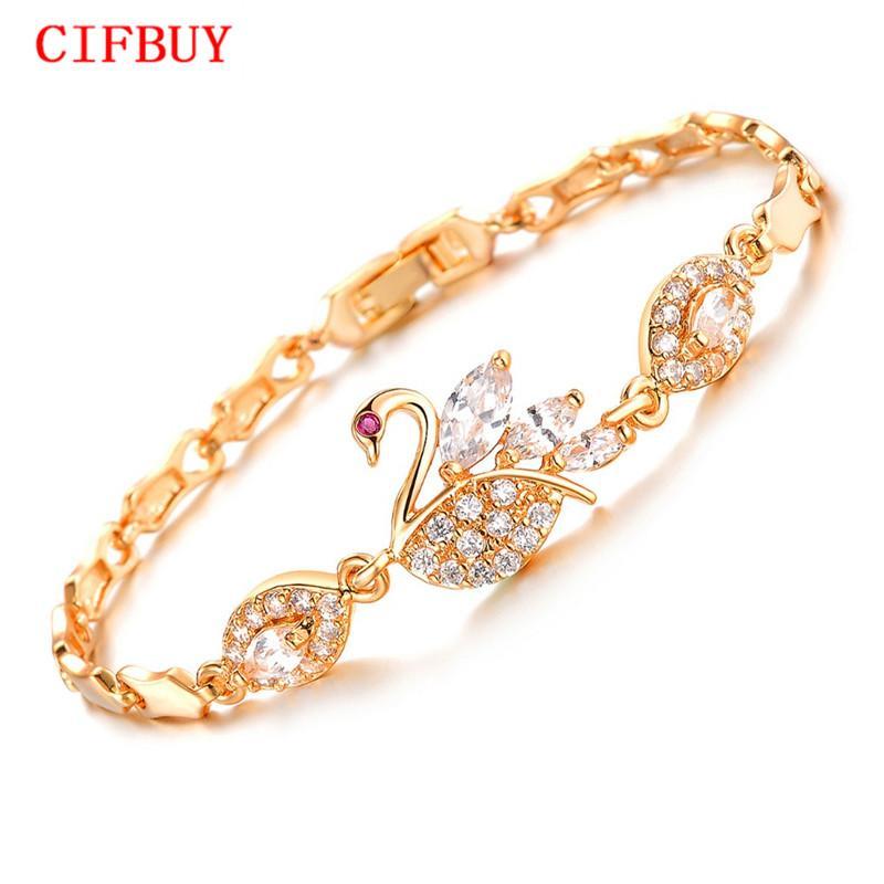 CIFBUY Vintage Swan design Lien chaîne Femme Bracelets Mode couleur Or Zircon DM440 bijoux de mariage