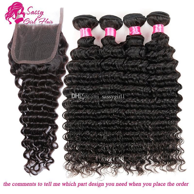 Malaysian Deep Curly Lace Closure With Bundles Malaysian Natural Wave Hair Weaves Virgin Hair Lace Closure Free Part Middle Part Three Part