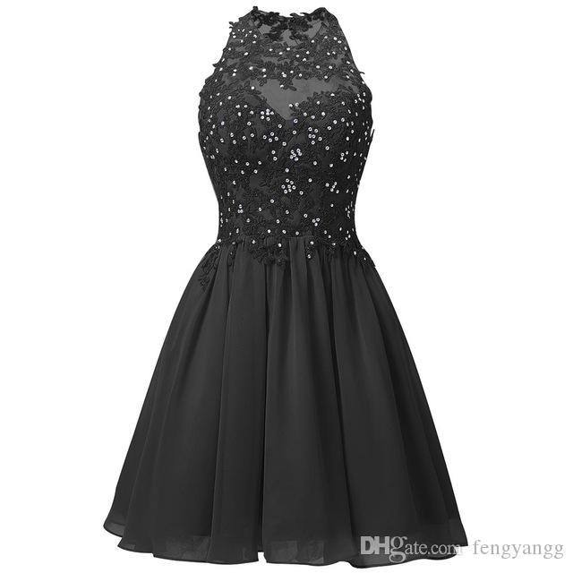 Vestidos exquisitos de lavanda corta exquisitos negros Vestidos de regreso a casa con cuentas de encaje mini abalorios Vestidos de graduación